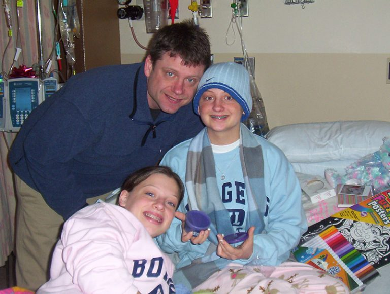 Brittany, her father (David), and younger sister (Alexis) on Christmas Day. Alexis is now a Pediatric Oncology nurse at Golisano Children's Hospital. She was inspired by the nurses who cared for Brittany.