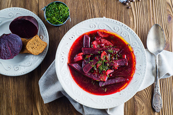Vegetable pigments make beet soup beautiful and delicious.