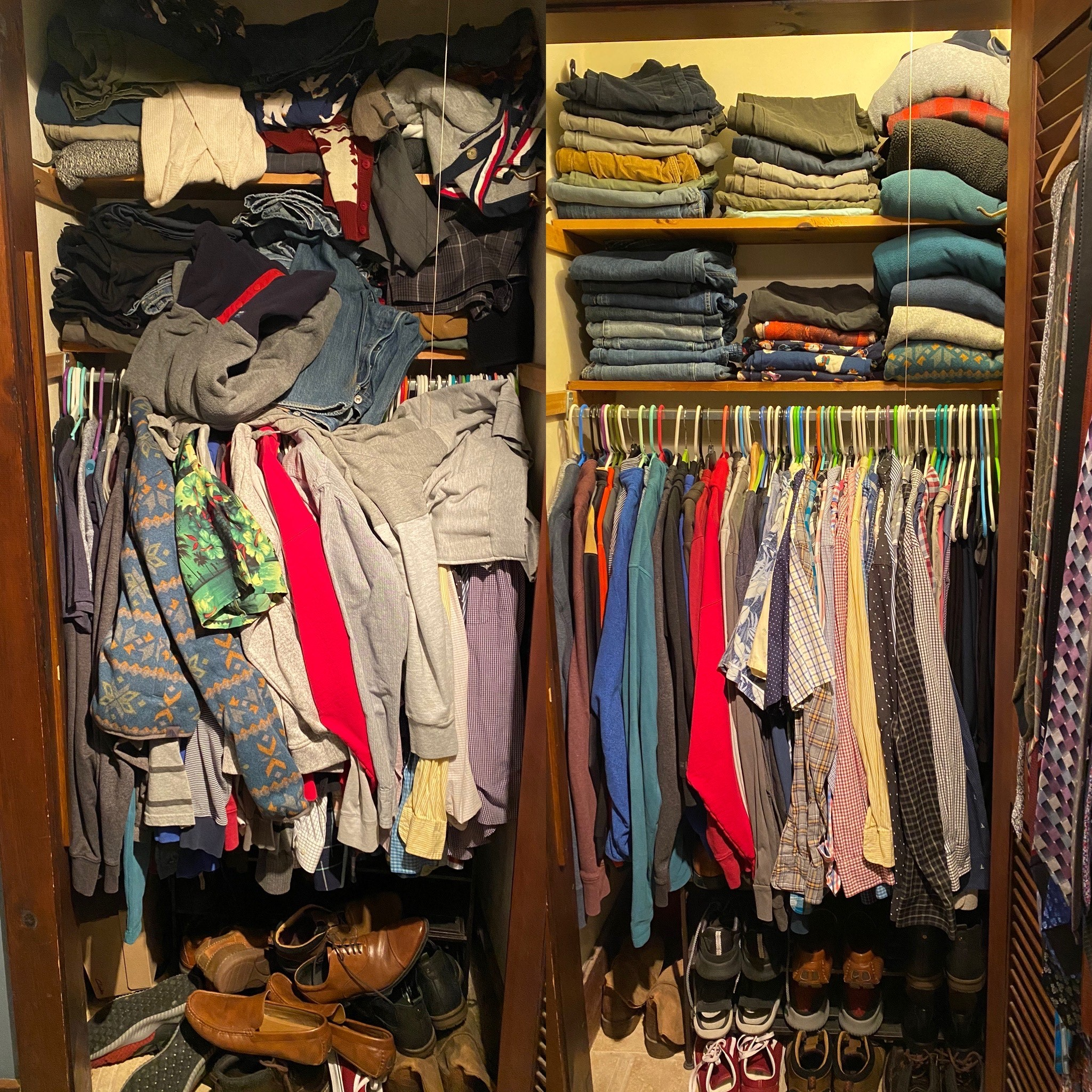 Picture of a before and after of a messy closet organization project