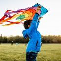 Picture of a boy flying a kite in a park