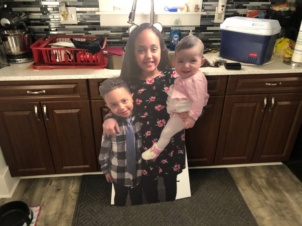 Cutout picture of three children