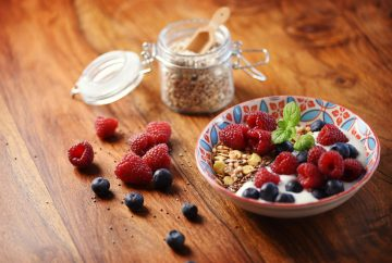 Picture of a bowl of yogurt with granola and fruit