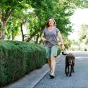 Picture of a woman walking her dog