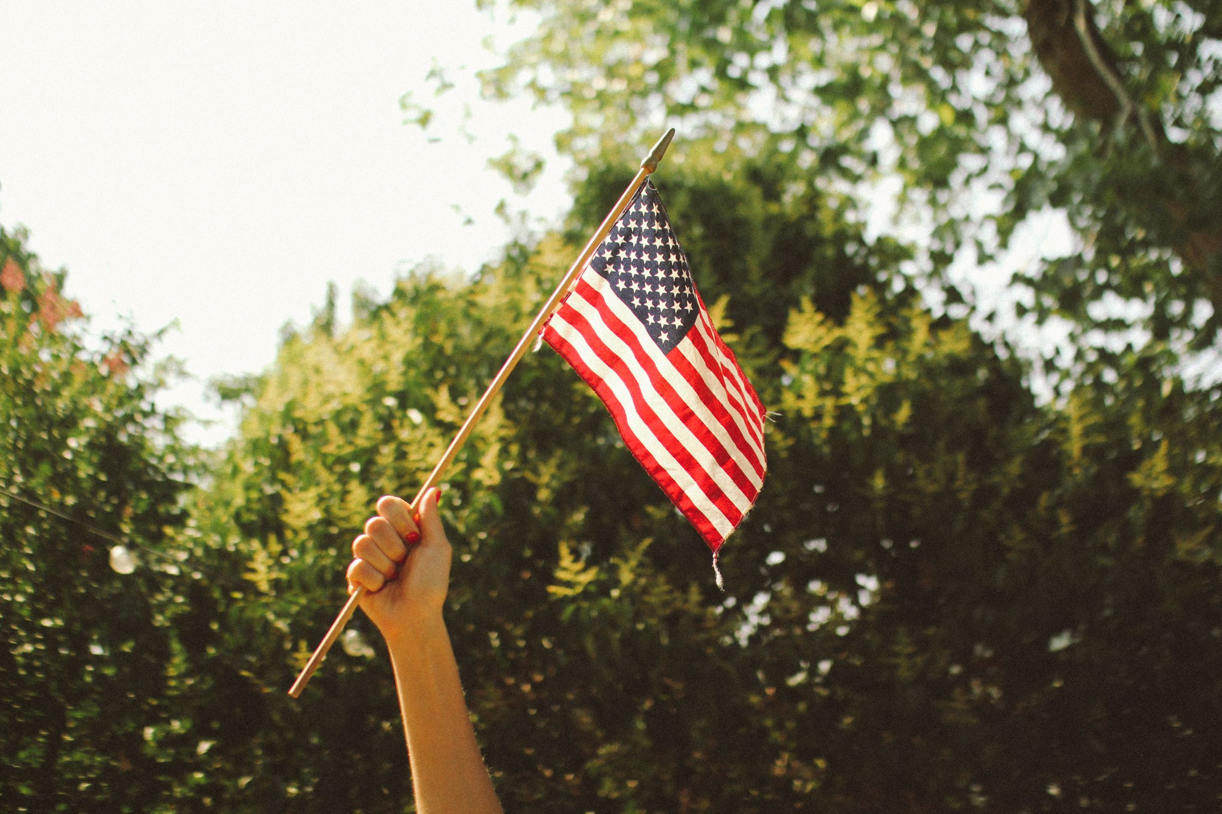 Picture of someone holding an American flag