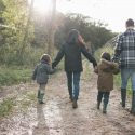 Picture of family walking down path